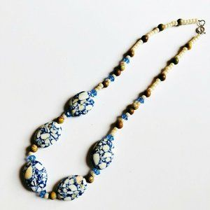 "18"" Vintage Howlite Composite Beaded Necklace Blue"